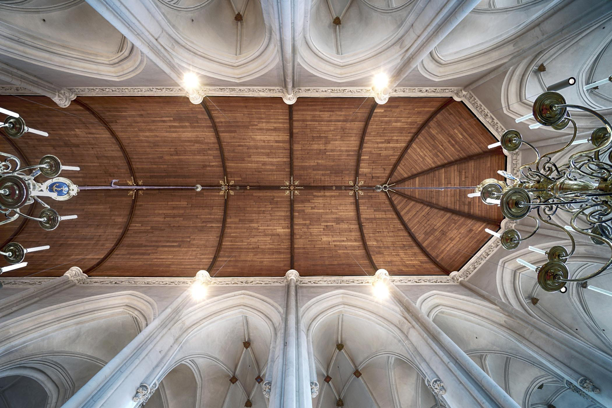 Monumentaal gotisch gewelf met houten kap in de Stevenskerk