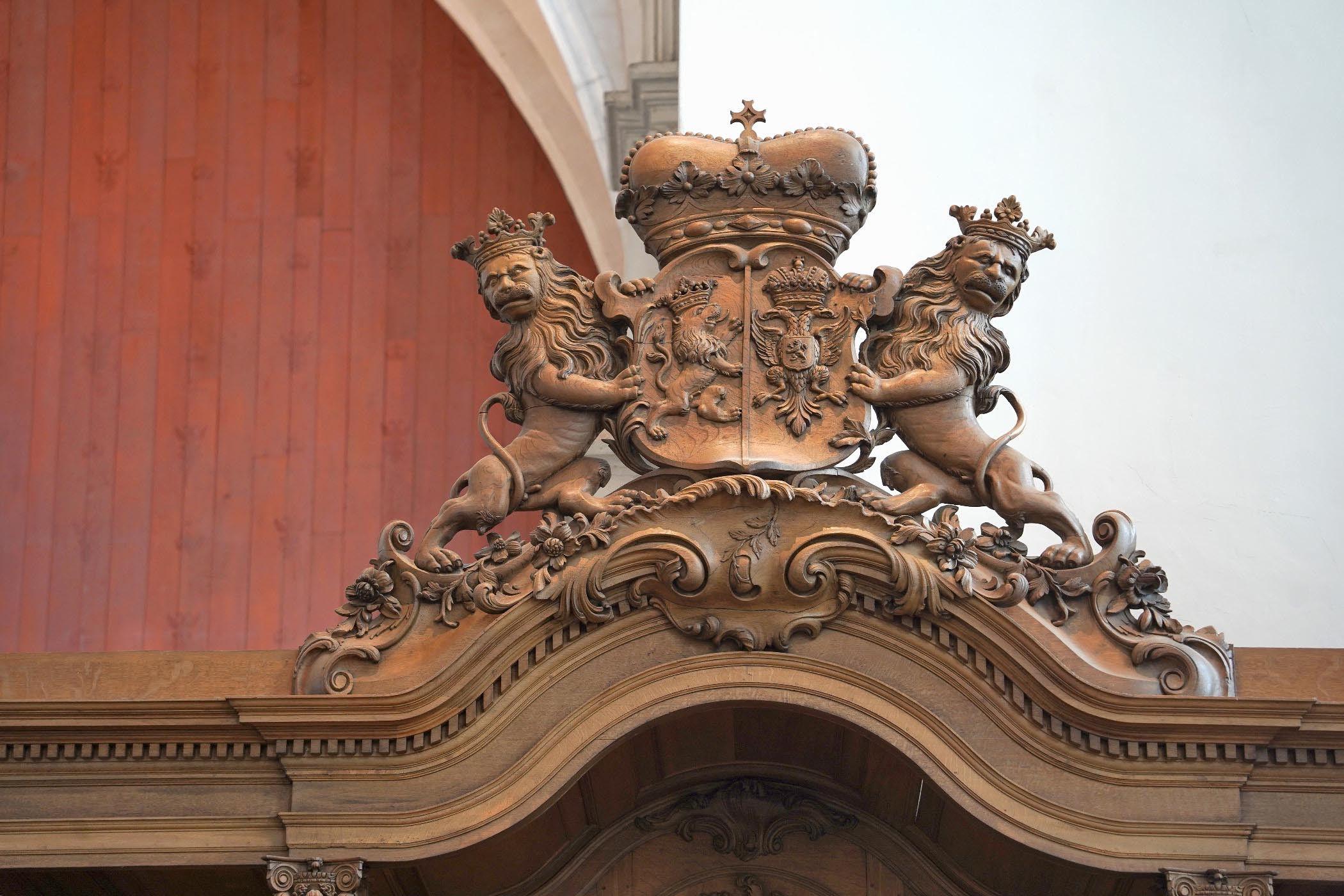 Detail luifel van de Prinsenbank in de Stevenskerk
