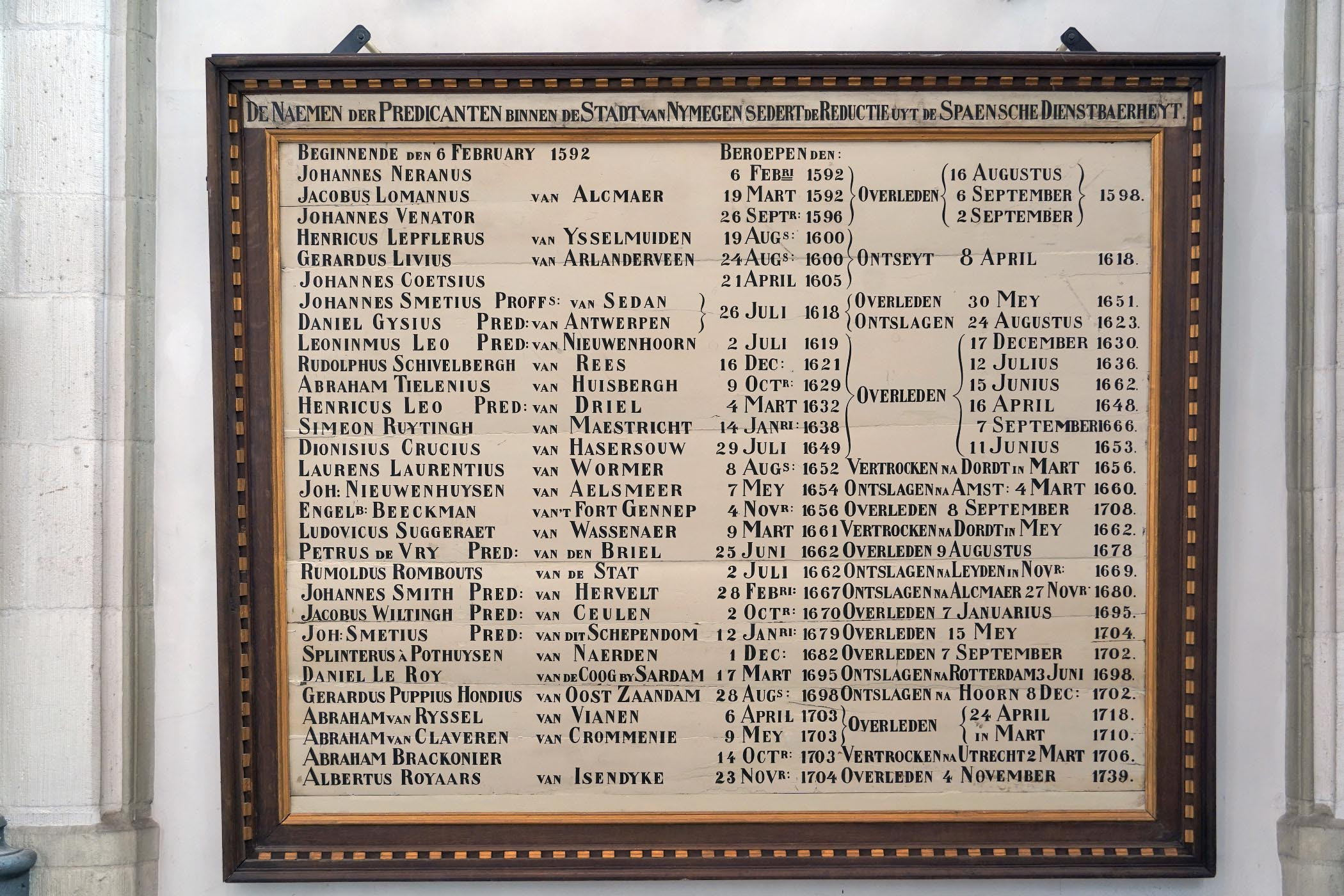 Predikantenbord in de kooromgang van de Stevenskerk