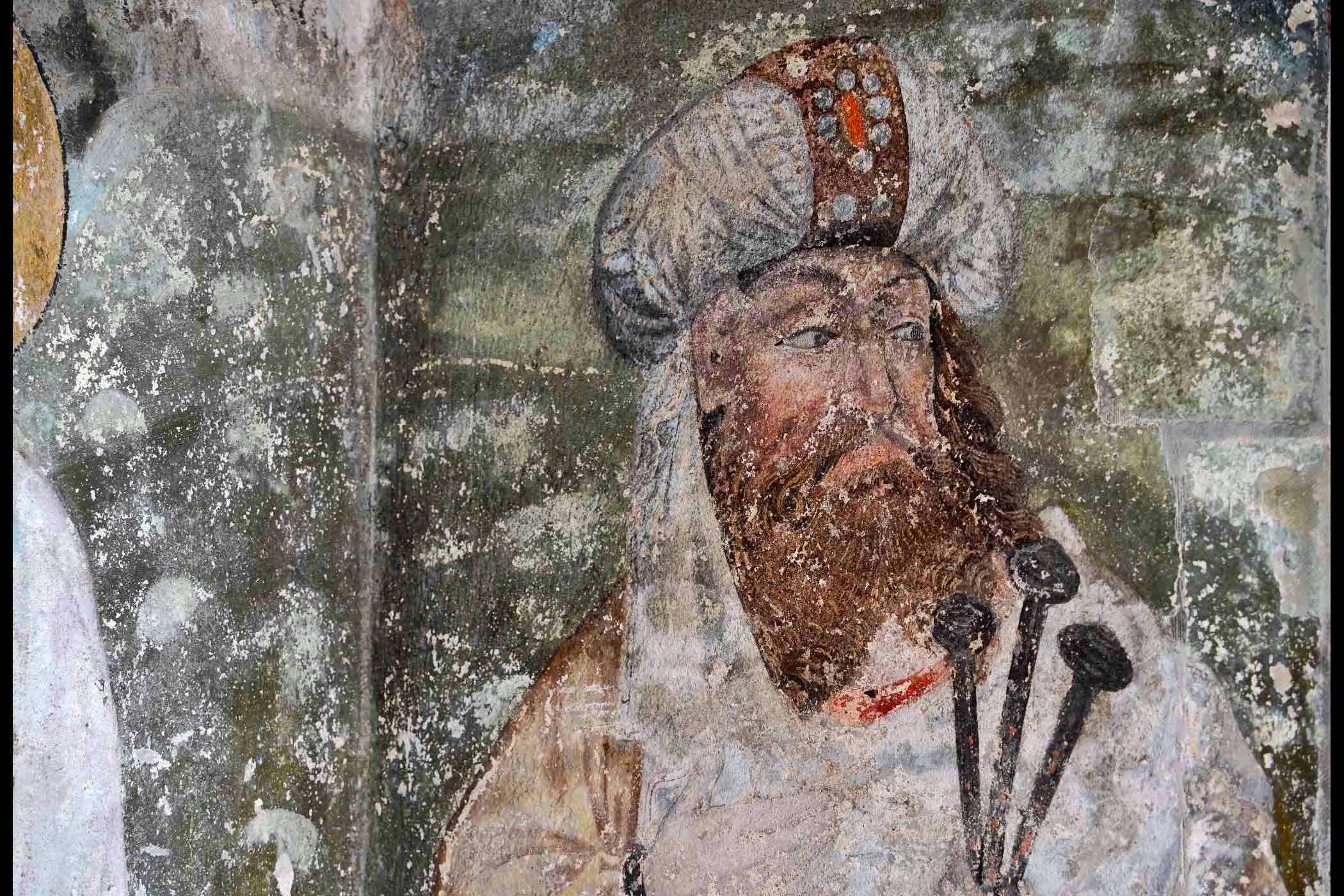 Muurschildering Jozef van Arimetea in de Heilig Grafkapel van de Stevenskerk
